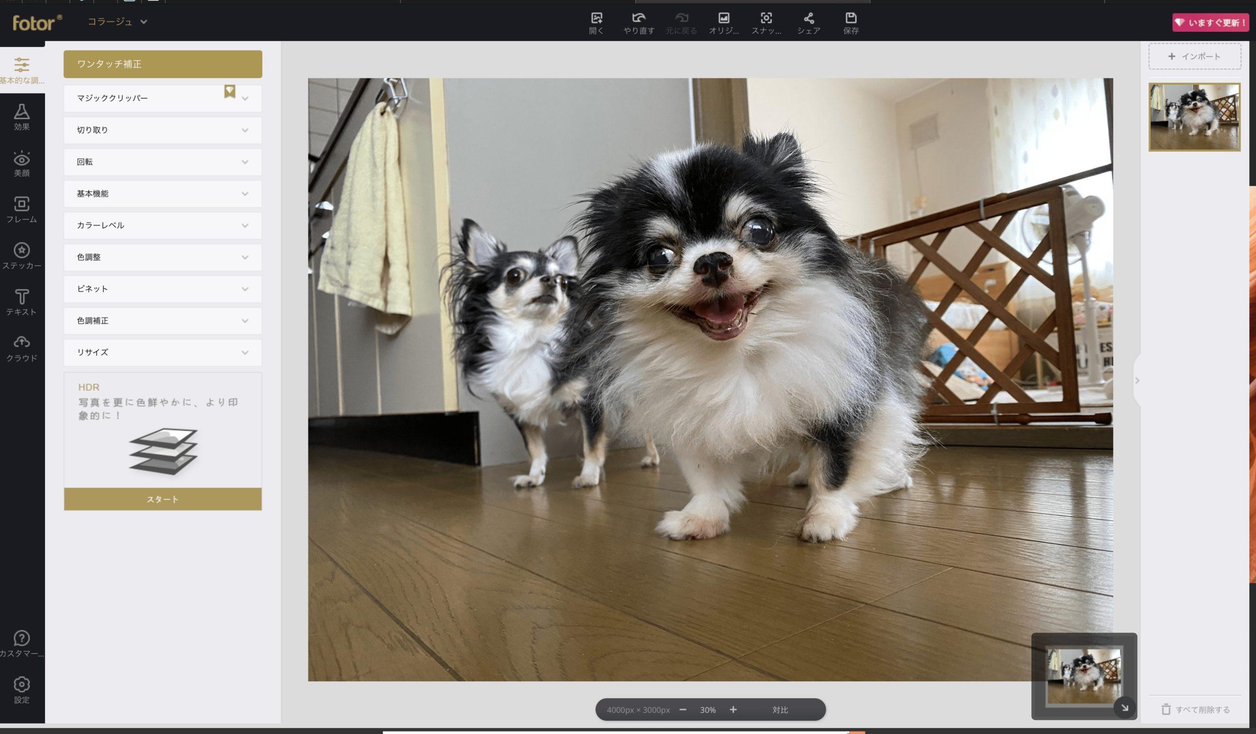 「写真を編集」の操作画面