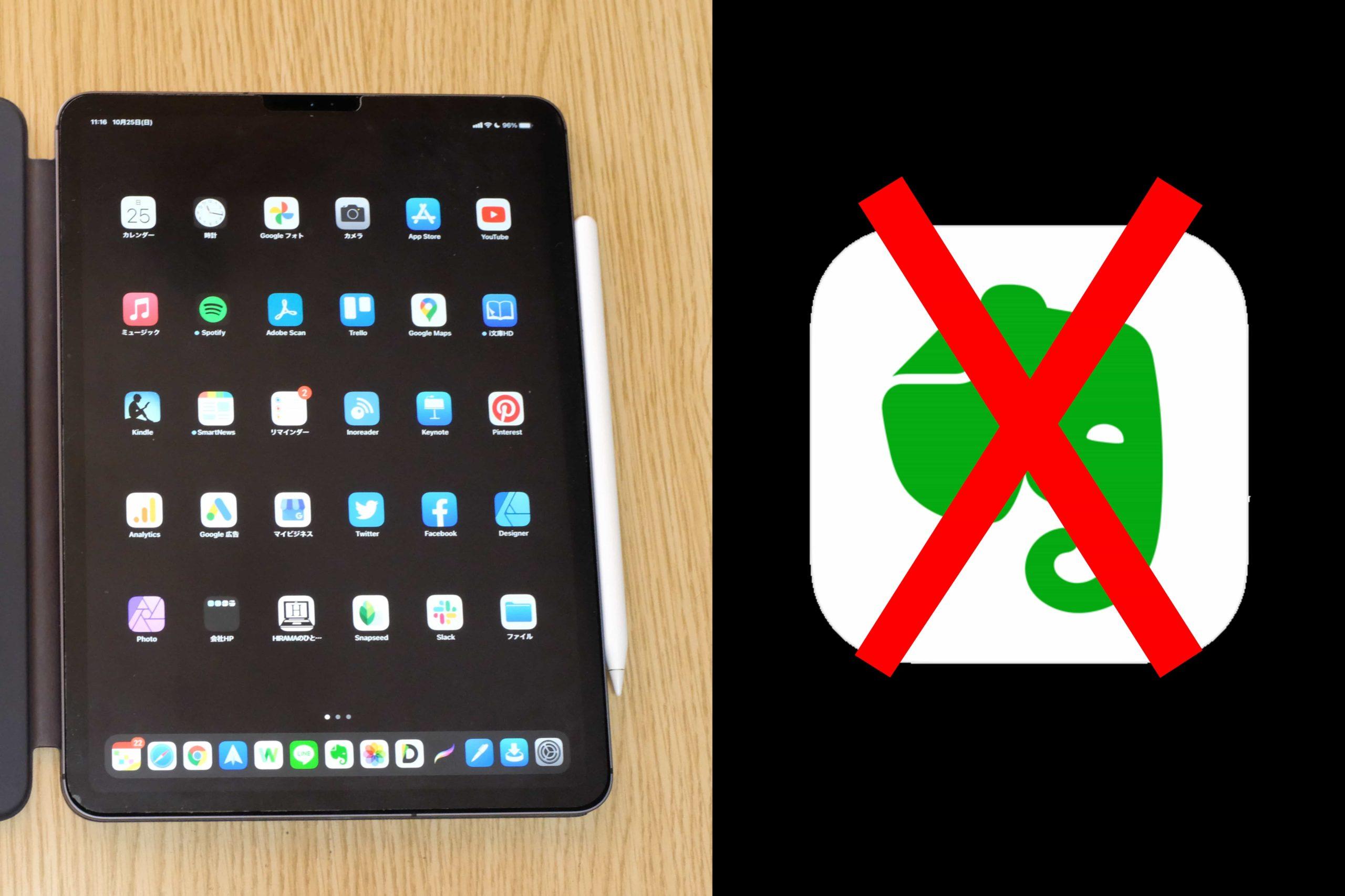 iPadのEvernoteアプリが悲しいくらい反応、動きが悪い話