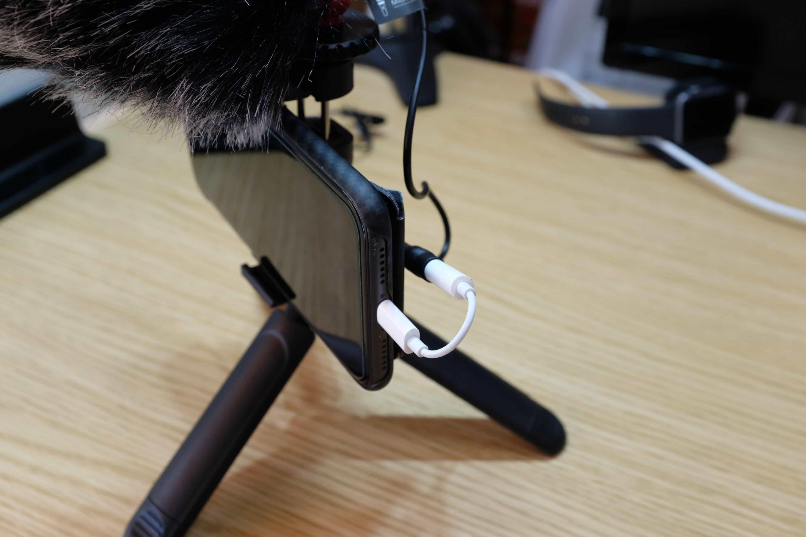オーディオケーブルでマイクとスマホを接続すれば完了