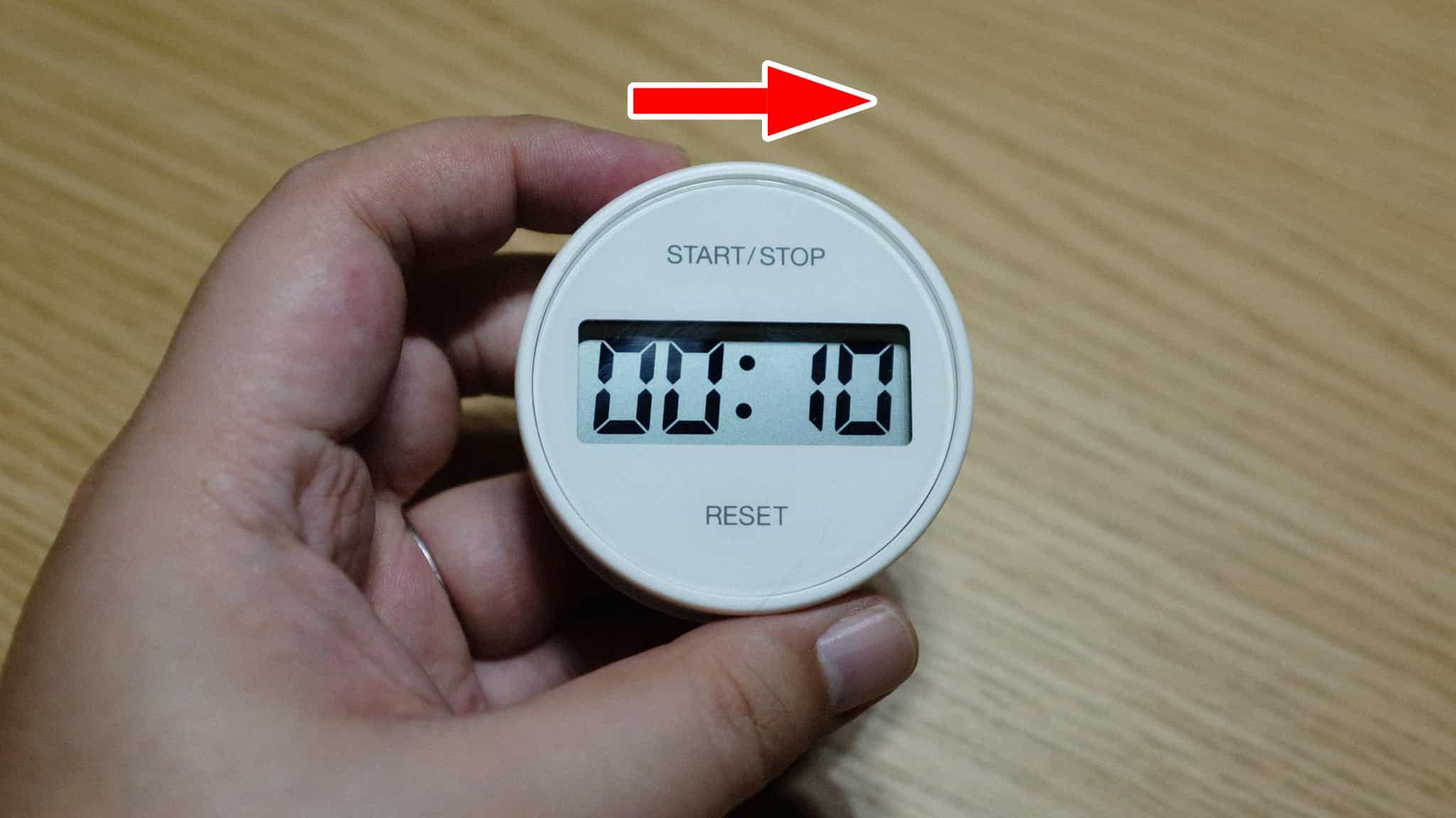 時計回しで時間を設定