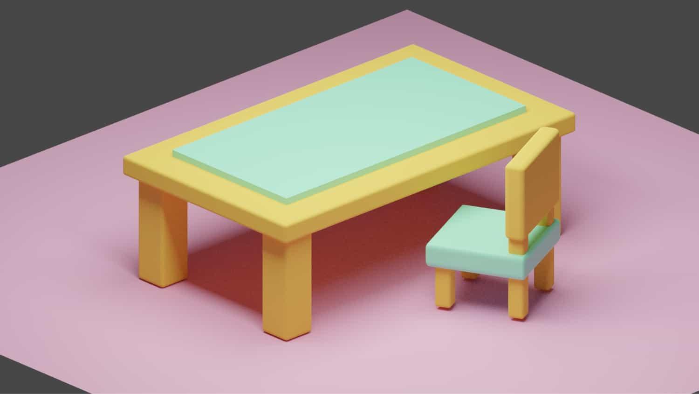 動画を見ながら一緒に操作して「机」と「椅子」を作ってみた